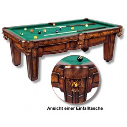 Billardtisch WELLINGTON, in hochexklusivem Antikdesign, aus Massivholz aufwendig gefertigt.