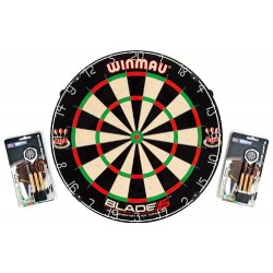 "Dartboard WINMAU Original ""Blade 5"" + 2 Steeldart Sets ""Broadside Brass"""